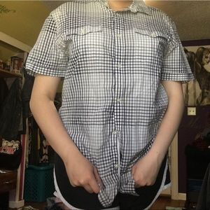 Men's black & white checkered button down